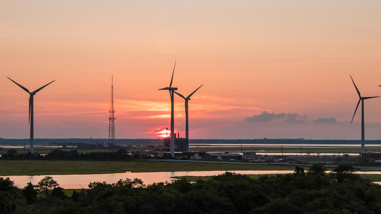 Wind turbines during sunset at Atlantic City, New Jersey